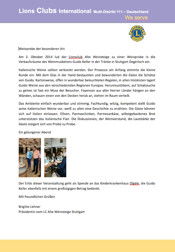 Lions Club International Brigitte Lehner über Wein-Musketier Stuttgart