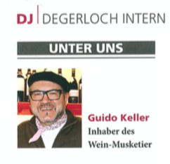 Guido Keller, Wein-Musketier in Degerloch - Artikel im Degerloch Journal 4/2016
